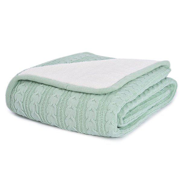 Simple Warm Pure Color Thickening Knitted Soft Blanket - MINT