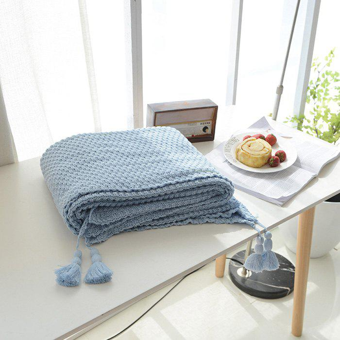 Warm Knitting Thread Tassel Blanket Home Decor - LIGHT BLUE
