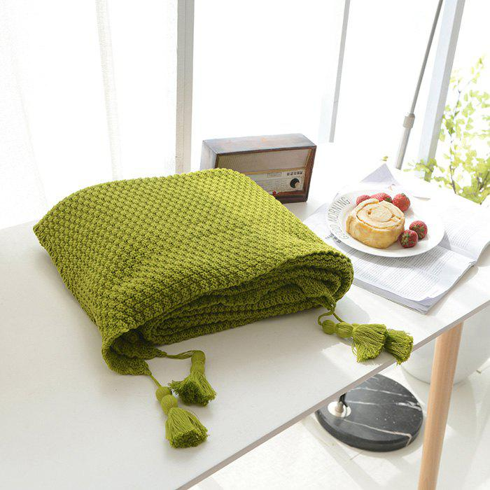 Warm Knitting Thread Tassel Blanket Home Decor - GRASS GREEN
