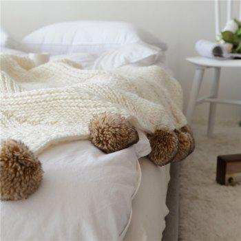 Knitted Ball Style Cotton Thread Sofa Blanket - WHITE