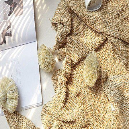 Unique Pure Color Cotton Knitted Tassels Ball Blanket - YELLOW
