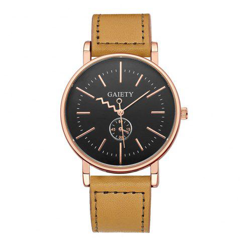 GAIETY Men's Rose Gold Tone Casual Leather Band Wrist Watch G035 - YELLOW