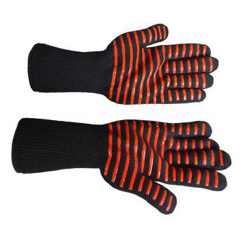 Heat Resistant Strip Pattern Gloves for BBQ Grilling Oven Cooking - RED/BLACK ONE SIZE