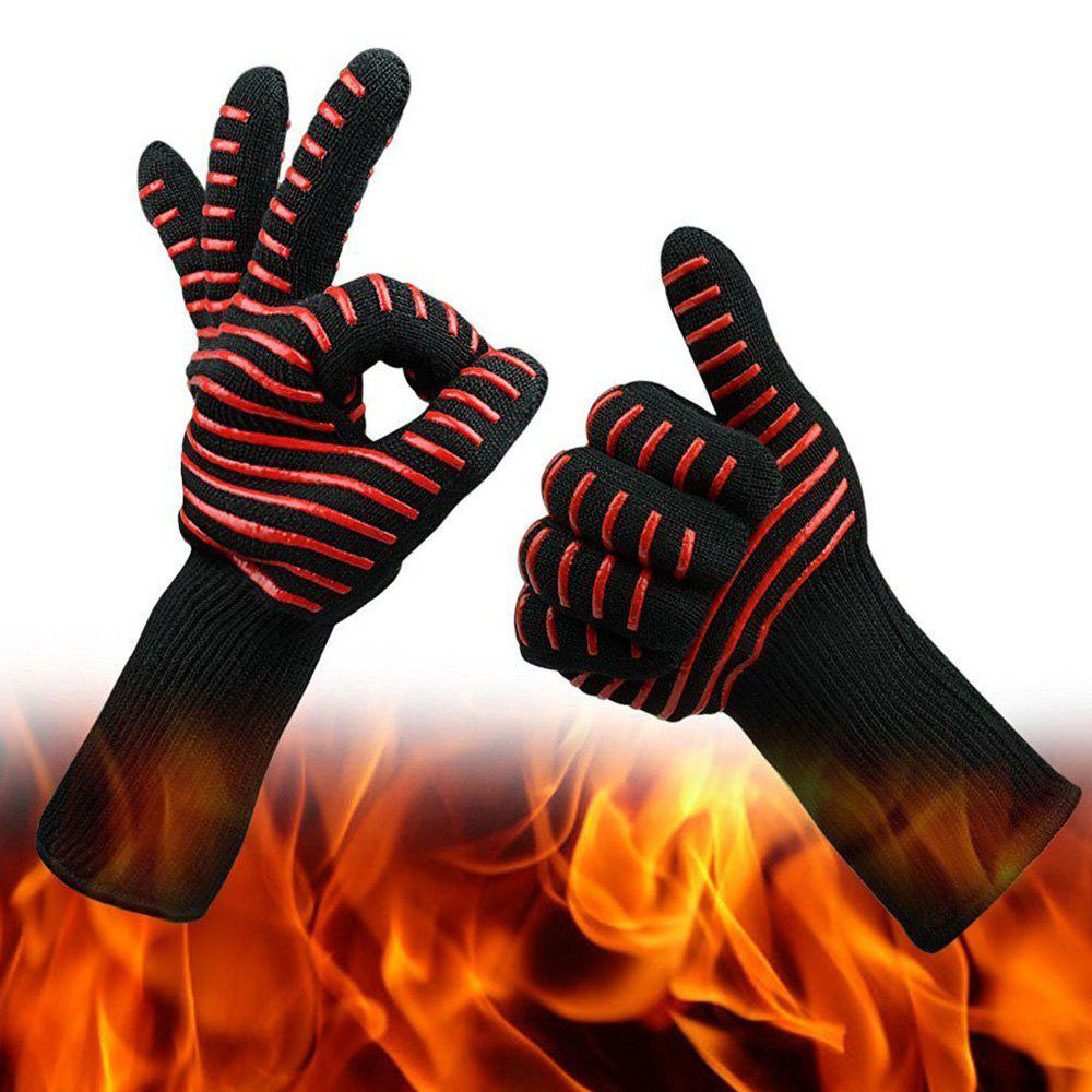 Heat Resistant Strip Pattern Gloves for BBQ Grilling Oven Cooking цена