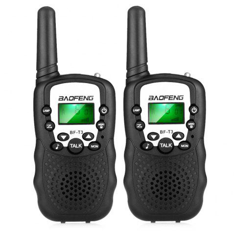 BAOFENG BF - T3 Mini Wireless Handheld Walkie Talkie with LED Torch ( EU Version ) 2PCS - BLACK