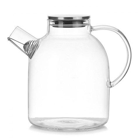 Simple Transparent Glass Heat Resistant Teapot with Stainless Steel Lid - TRANSPARENT