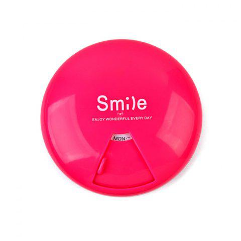 Practical Portable Round Plastic Pill Case - ROSE RED
