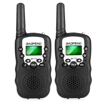 BAOFENG BF - T3 Mini Wireless Handheld Walkie Talkie LED Torch ( EU Version ) 2PCS - BLACK