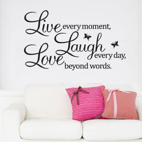 Removable Quote Pattern Decal Wallpaper Wall Sticker for Home Decor - BLACK