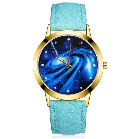 GAIETY G376 Women's Leather Strap Starry Sky Wrist Watch - SKY BLUE