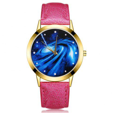 GAIETY G376 Women's Leather Strap Starry Sky Wrist Watch - ROSE RED
