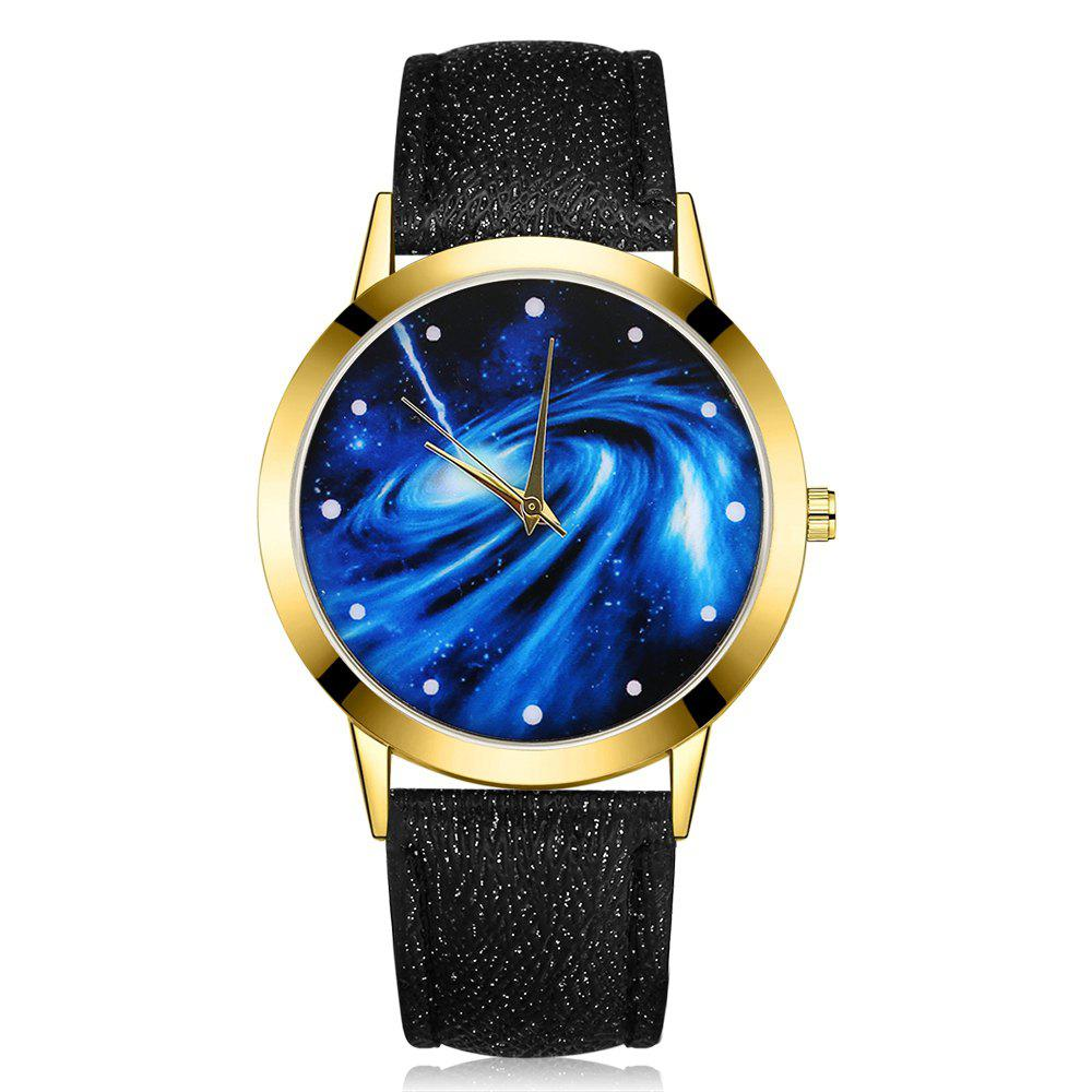 GAIETY G376 Women's Leather Strap Starry Sky Wrist Watch - BLACK