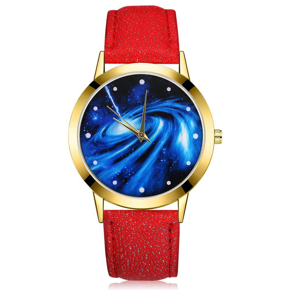 GAIETY G376 Women's Leather Strap Starry Sky Wrist Watch - RED