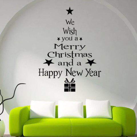 Christmas Style Glass Sticker Set for Home Stores Window Decorations - BLACK