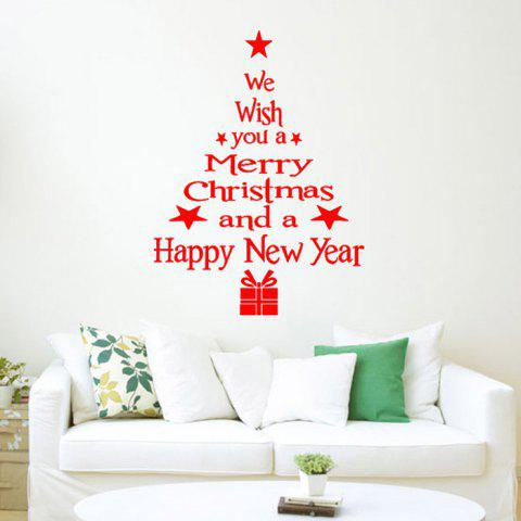 Christmas Style Glass Sticker Set for Home Stores Window Decorations - RED