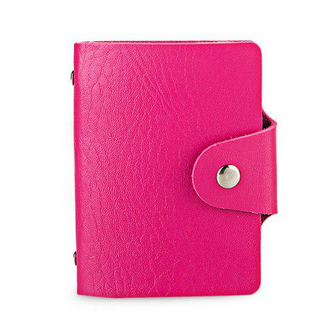 DUDINI Stylish Business PU Porte-cartes de crédit - Rouge Rose