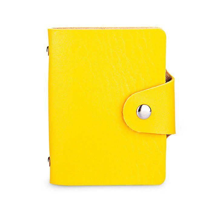 DUDINI Stylish Business PU Credit Card Holder - YELLOW