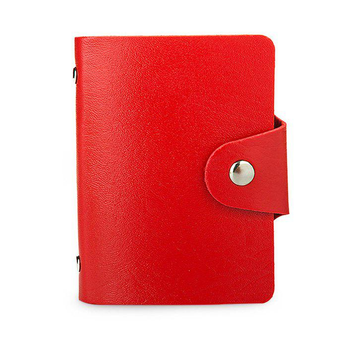 DUDINI Stylish Business PU Credit Card Holder - RED