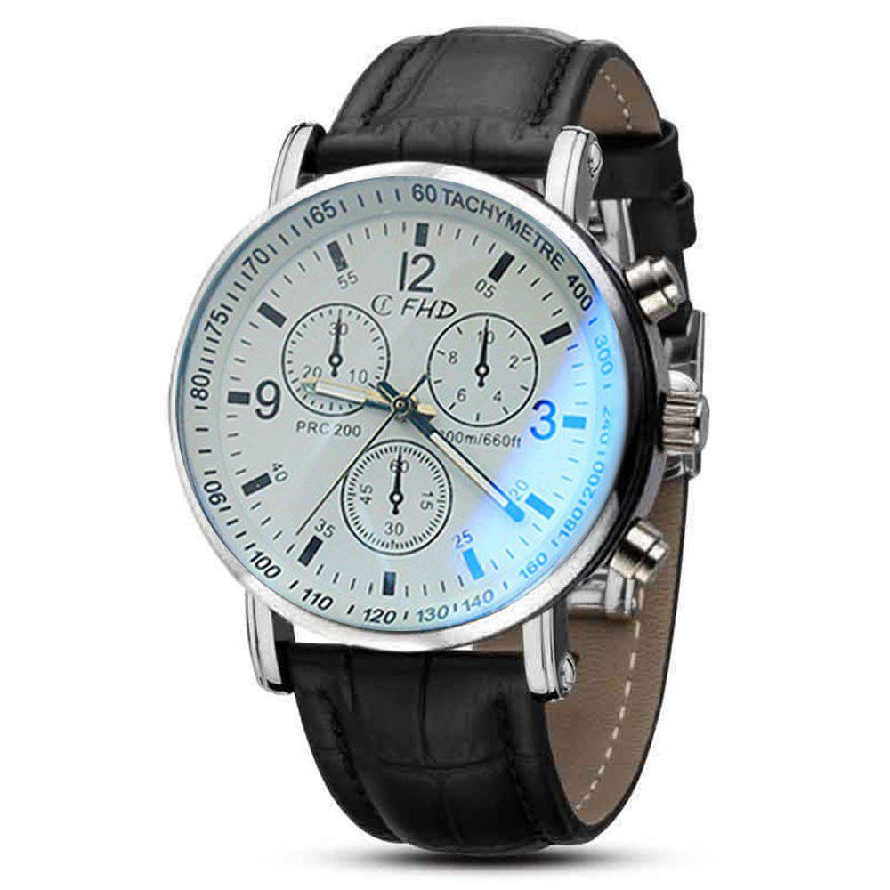 Men Faux Leather Blue Ray Glass Quartz Analog Watches Brown 250533201