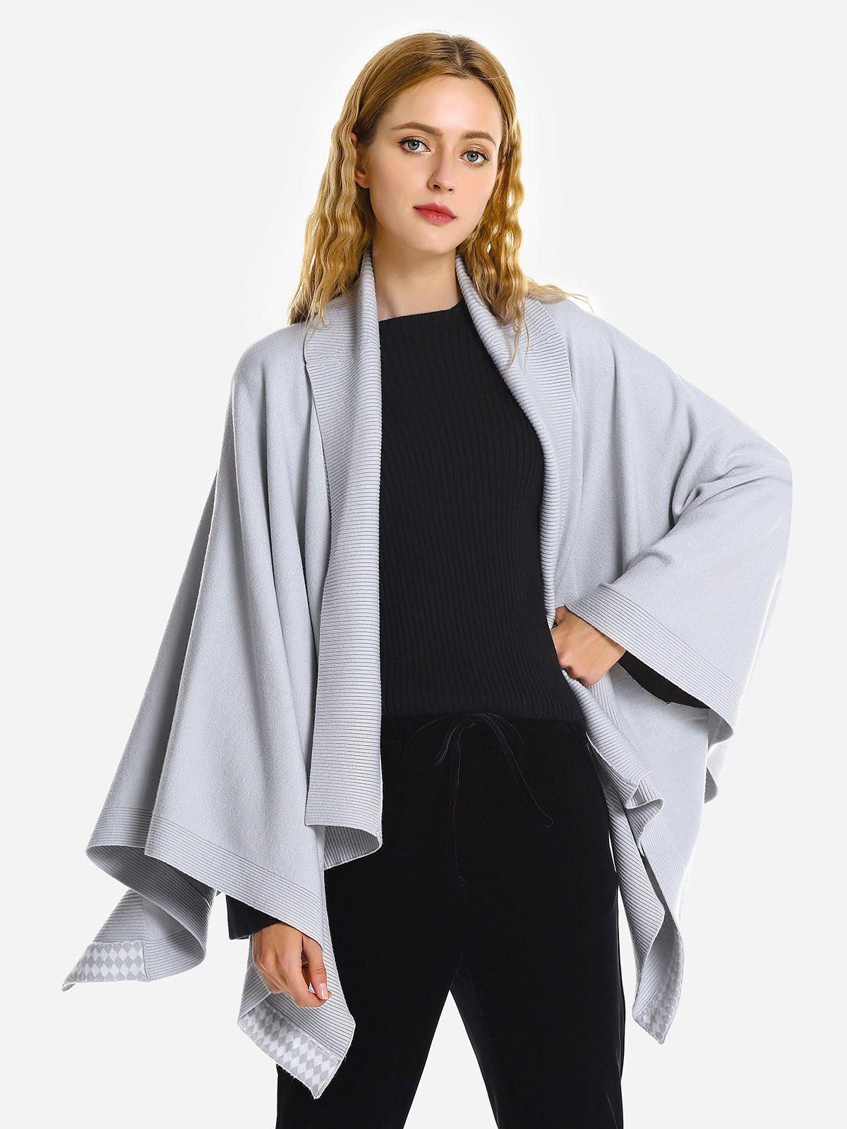 ZAN.STYLE Collier Cape Manteau Turndown - Gris ONE SIZE(FIT SIZE XS TO M)