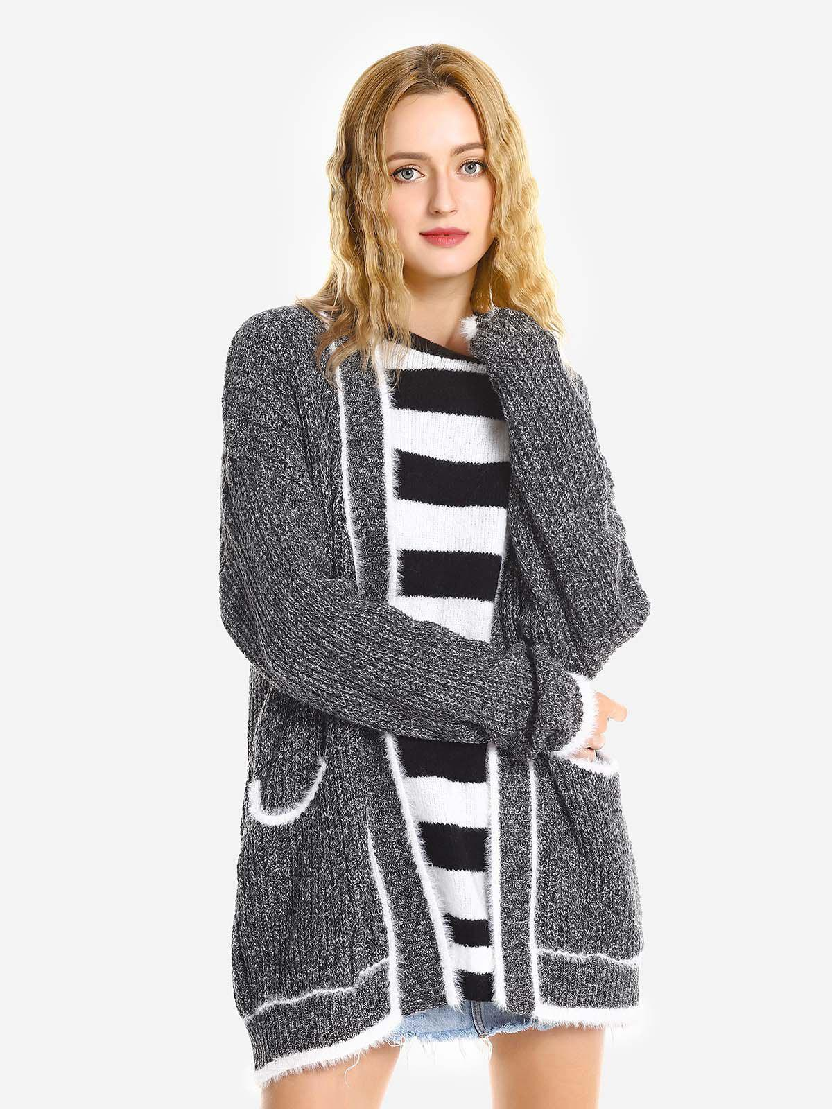 ZAN.STYLE Coat Raw Edge - Gris de cuir ONE SIZE(FIT SIZE XS TO M)