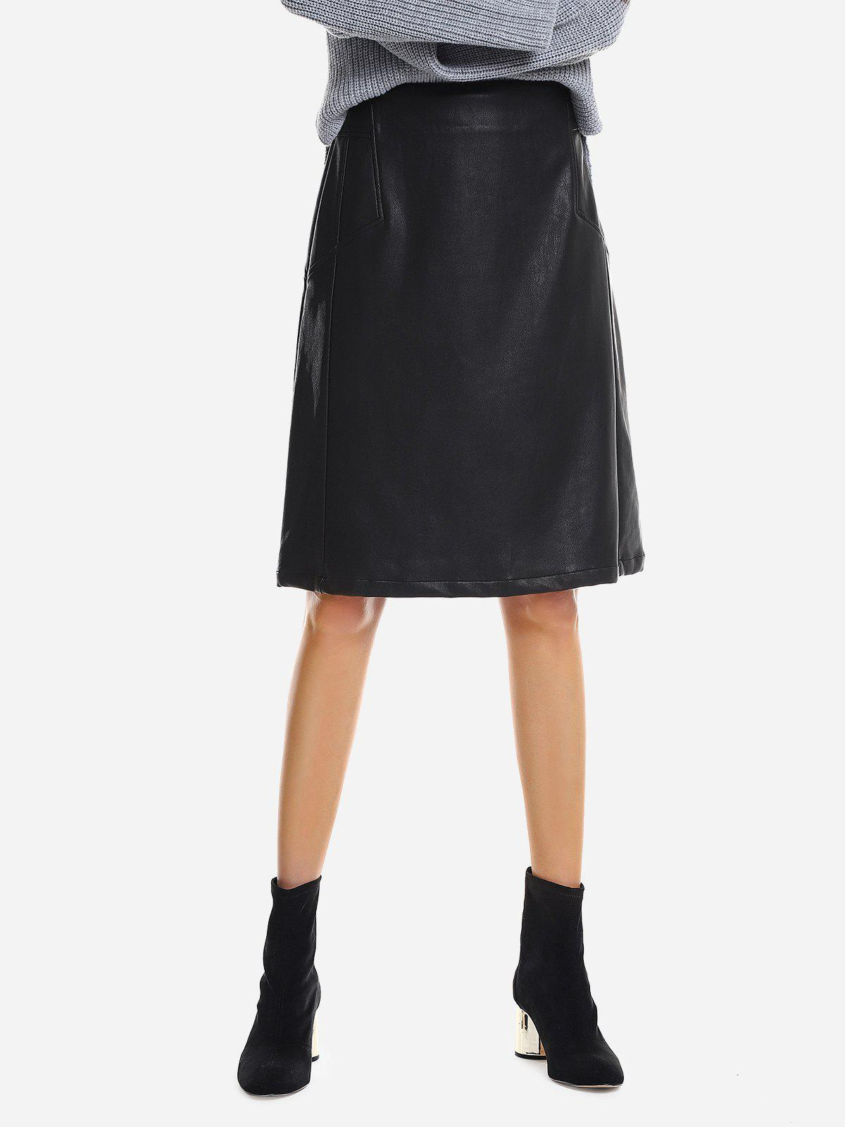 ZAN.STYLE Washed Leather Skirt - BLACK M