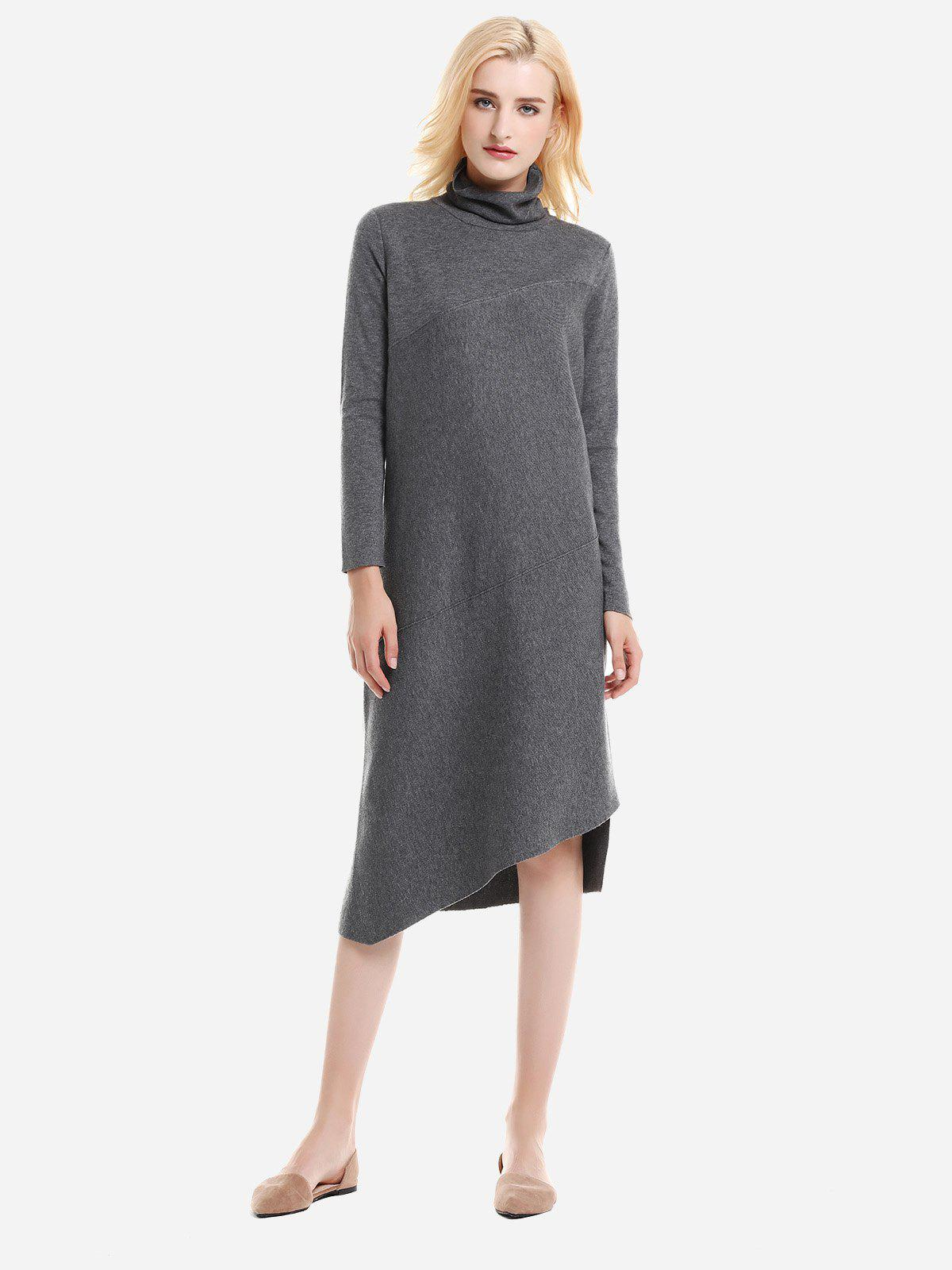 ZAN.STYLE Turtleneck Collar Dress - CHARCOAL GRAY M