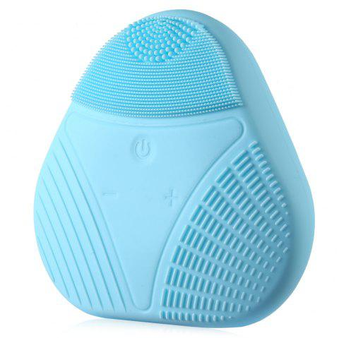 Electric Silicone Facial Cleaning Brush Smart Face Vibration Massager for Skin Care Spa - BLUE