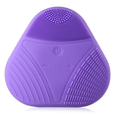 Electric Silicone Facial Cleaning Brush Smart Face Vibration Massager for Skin Care Spa - PURPLE