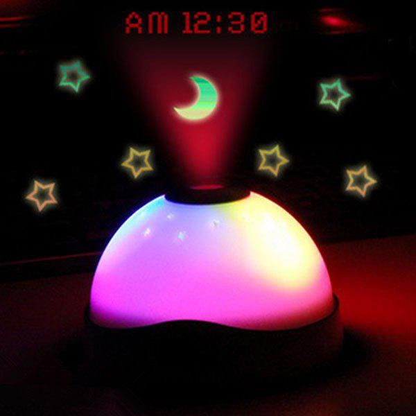 Charming LED Stars Moon Projection Light with Clock - COLORMIX