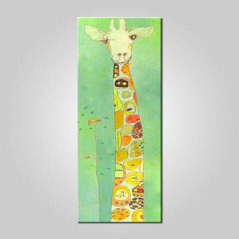 Mintura MT160997 Hand Painted Oil Painting Cartoon Giraffe Pattern Canvas Artwork for Wall Decor - COLORMIX