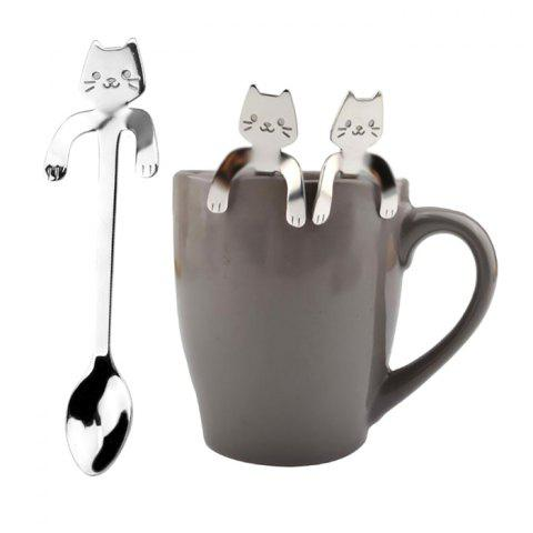 Creative Stainless Steel Cartoon Cat Hang Handle Coffee Spoon 3pcs - SILVER 3PCS