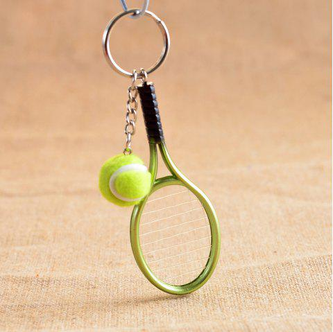 Mini Tennis Racket Creative Cartoon Key Chain Ring Pendant - GREEN