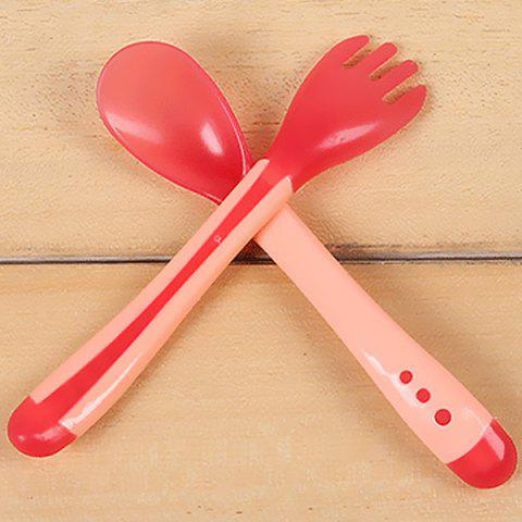 Silicone Temperature Sensitive Tableware Set Baby Soup Spoon and Fork - PINK