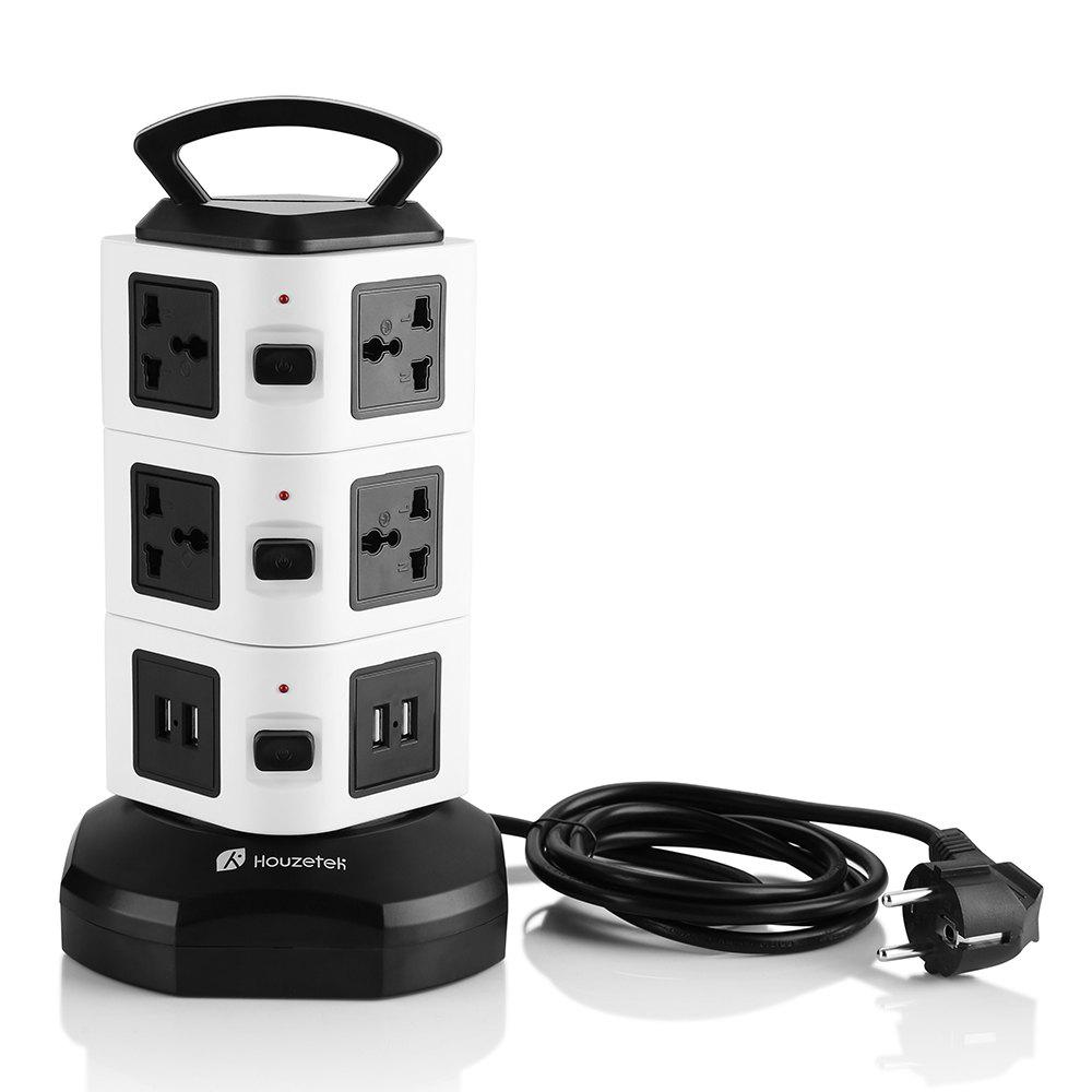 Houzetek JW103 3 Layer Vertical Power Strip - BLACK WHITE EU PLUG