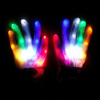 Pair of Creative Luminous LED Flashing Gloves for Party Ball Festival - WHITE