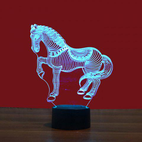 3D Lamp USB Night Light Horse Pattern Color Changing DC 5V - BLACK