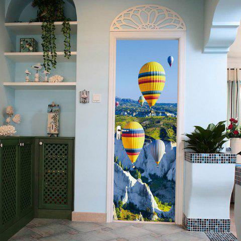 ZB89 créatif autocollant de porte en PVC Set Fire Balloon Mural Stickers - multicolor