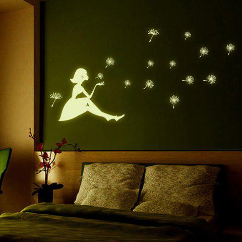 Artistic Dandelion Girl Luminous Wall Sticker Removable PVC Decal for Decor - COLORMIX
