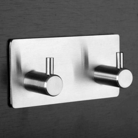 Stylish Wall Mounted Storage Hook Rack 304 Stainless Steel Nickel Brushed with 2 Hooks - SILVER