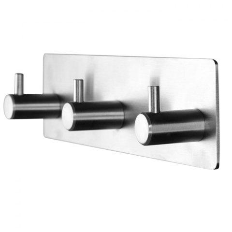 Stylish Wall Mounted Storage Hook Rack 304 Stainless Steel Nickel Brushed with 3 Hooks - SILVER