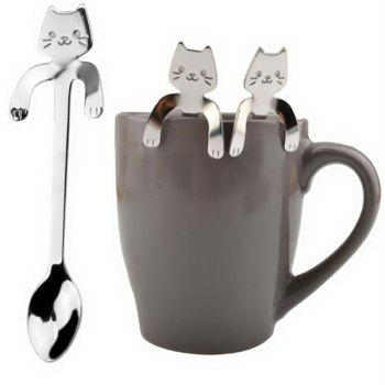 2018 Cute Cat Spoon Long Handle Spoons Flatware Drinking Tools Kitchen Gadgets