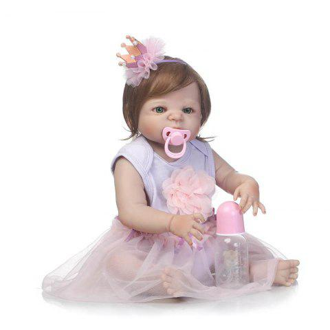 NPK Simulation Soft Silicone Baby Doll Toy with Purple Skirt - COLORMIX