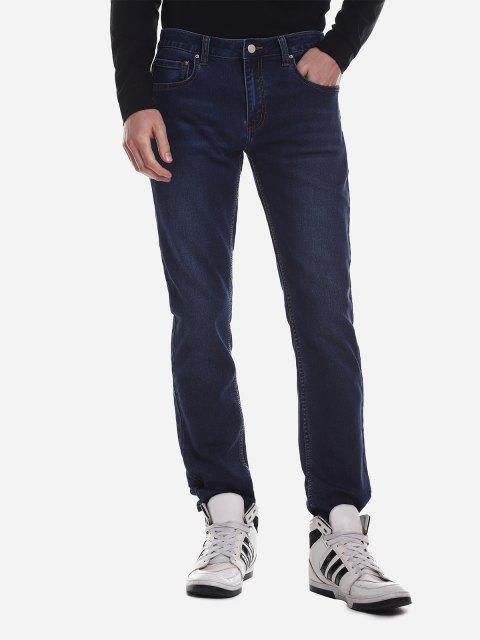 Mid Rise Waist Washed Jeans - DENIM BLUE 38