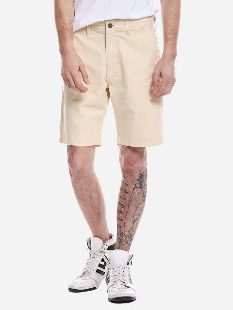 Zip Fly Shorts - LIGHT KHAKI 36