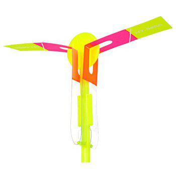 LED Light-up Rubber Slingshot Helicopter Toys for Kids 50PCS - YELLOW