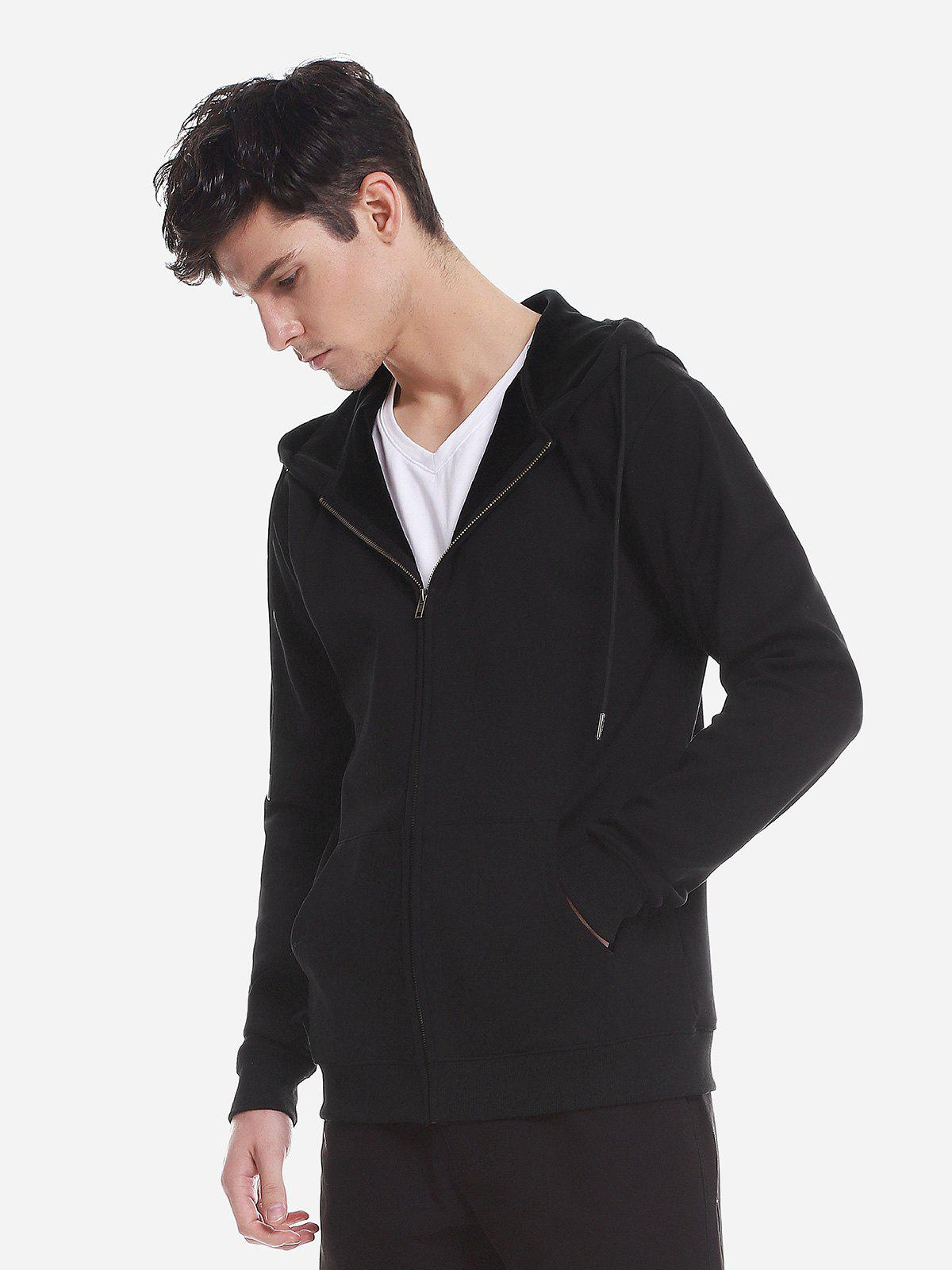 ZAN.STYLE Zip Up Pocket Hooded Sweatshirt - BLACK 3XL