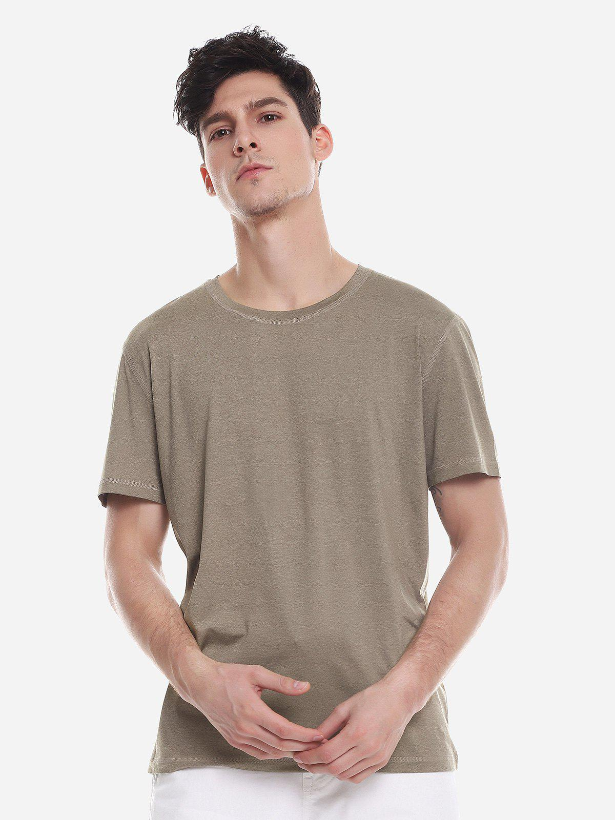 ZAN.STYLE T Shirt Crew Neck - DARK KHAKI XL