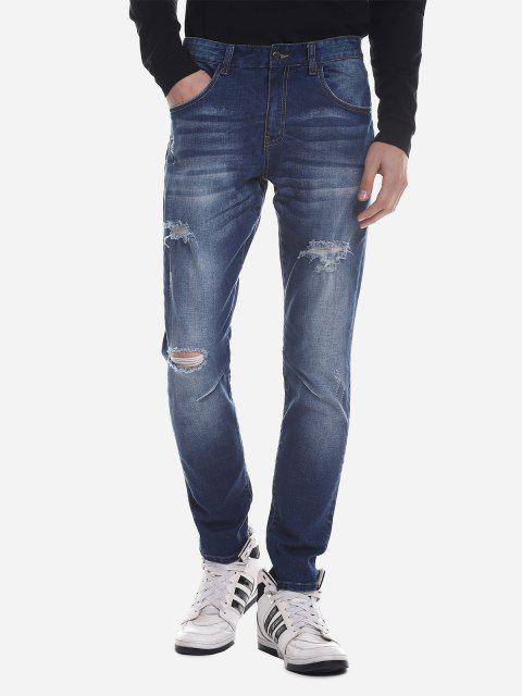 ZAN.STYLE Ripped Faded Skinny Jeans - BLUE 32