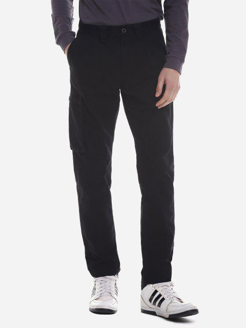 ZANSTYLE Men Side Pocket Belted Pants - BLACK 33